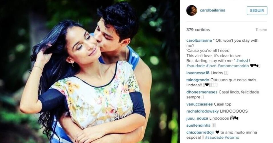 A bailarina Carol Oliveira admite que é coruja do marido e faz tudo que pode para que ele alcance o sonho de ir às Olimpíadas do Rio de Janeiro