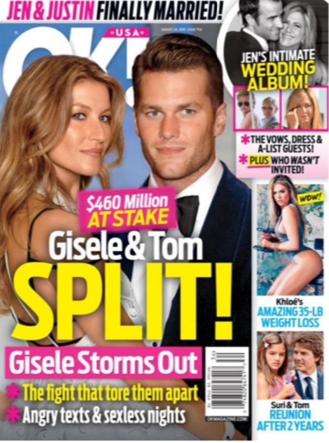 Revista OK Magazine anuncia separação de Gisele Bündchen e Tom Brady