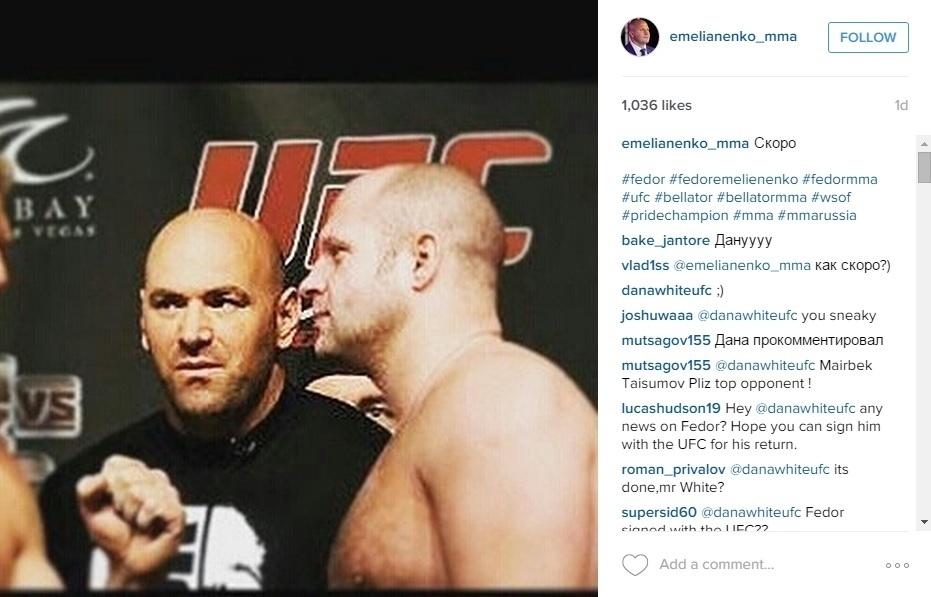 Fedor posta montagem em que aparece ao lado de Dana White em evento do UFC
