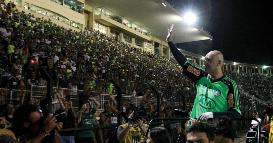Goleiro Marcos no dia do adeus aos torcedores do Palmeiras, em dezembro de 2012, no Pacaembu
