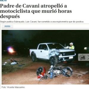 Reportagem do jornal El País mostra como acidente envolvendo pai de Cavani. O motociclista morreu