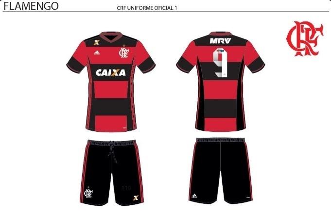 Detalhe da logomarca da MRV no uniforme do Flamengo