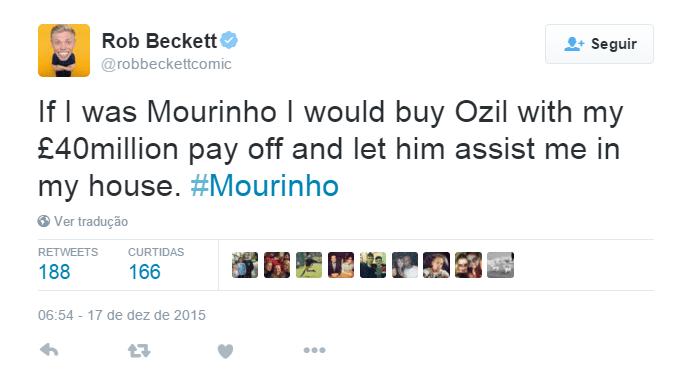 O humorista britânico Rob Beckett usou Özil, meio-campista do rival Arsenal que se destaca com passes para gol, para a zoeira