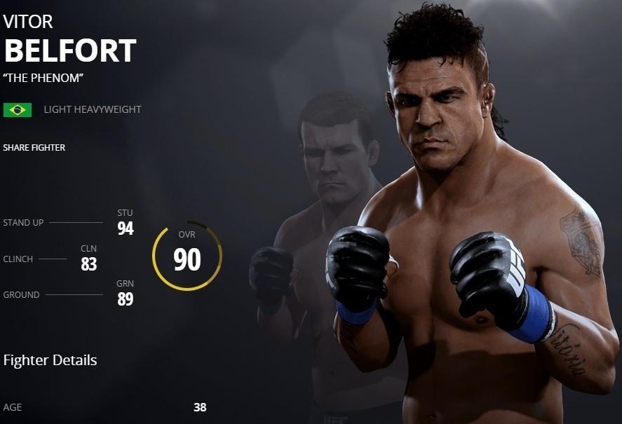 Vitor Belfort em versão virtual do UFC 2