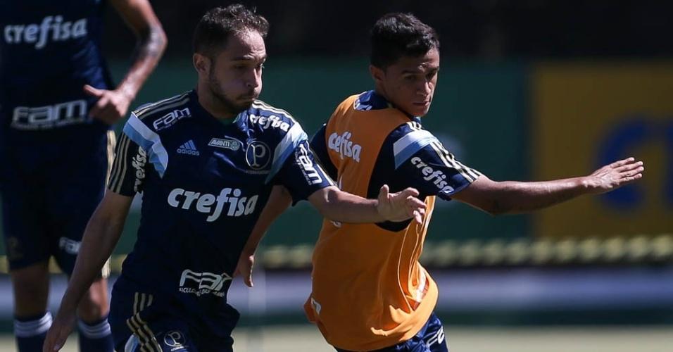 Régis e Erik disputam a bola em treino do Palmeiras na Academia de Futebol