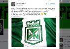 Corinthians usa coração verde para parabenizar At. Nacional por tributo - Reprodução/Twitter