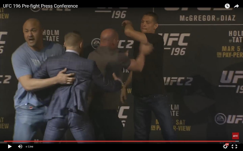Conor McGregor e Nate Diaz se estranham em coletiva de imprensa do UFC
