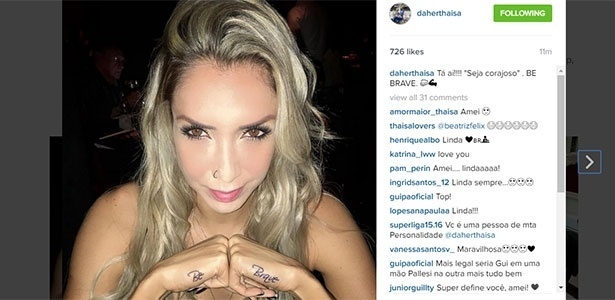 Thaisa mostra sua nova tatuagem