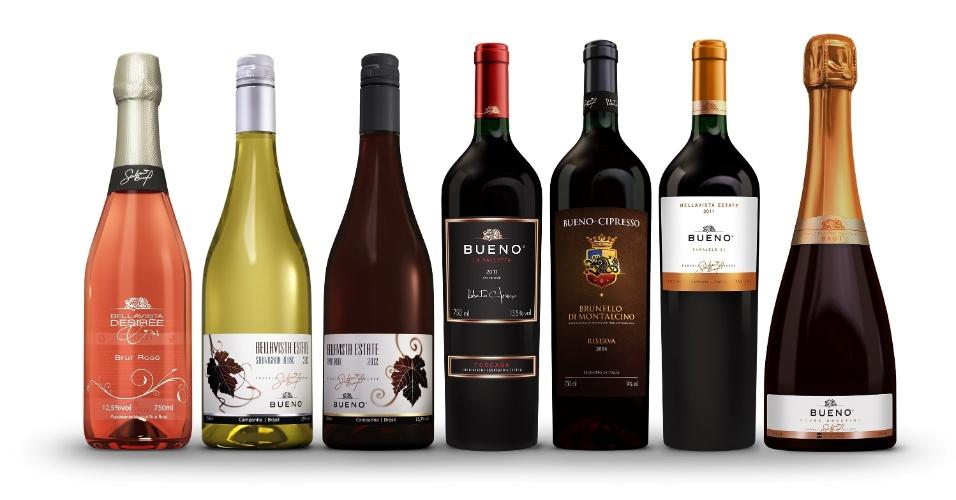 Os rótulos de vinhos finos produzidos por Galvão Bueno a partir da plantação de Candiota (RS)