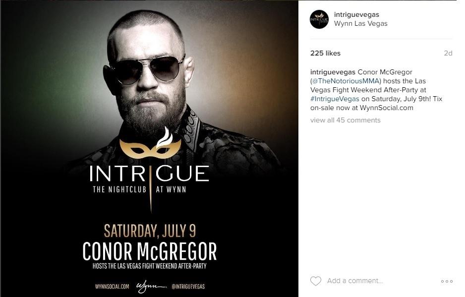 Conor McGregor reservou boate para o dia do UFC 200