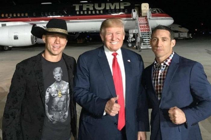Trump recebeu o apoio de Cerrone (esq.) e Kennedy