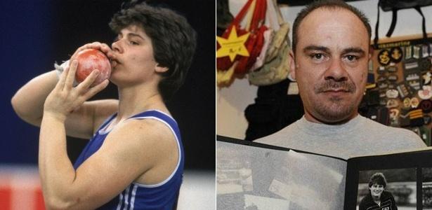 Krieger: competindo como Heidi (esq.) e depois de ser reconhecido como Andreas