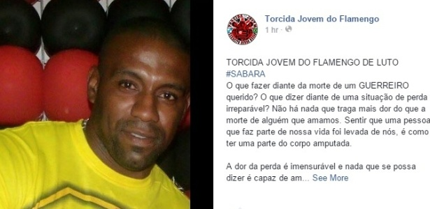 Rodrigo Reis, o Sabará, morreu após briga entre torcedores de Flamengo e Vasco