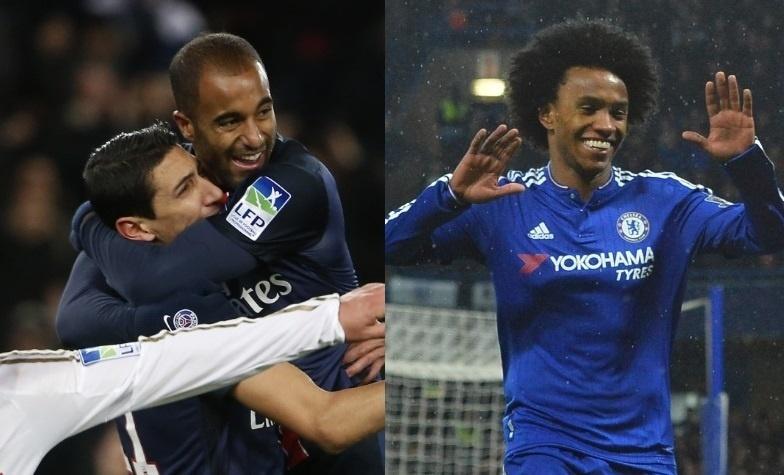 Lucas e Willian chegam em alta para duelo entre PSG e Chelsea