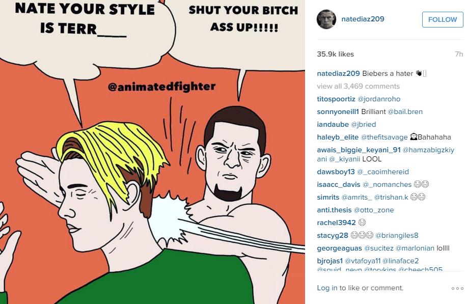 Nate Diaz responde crítica de Justin Bieber com meme