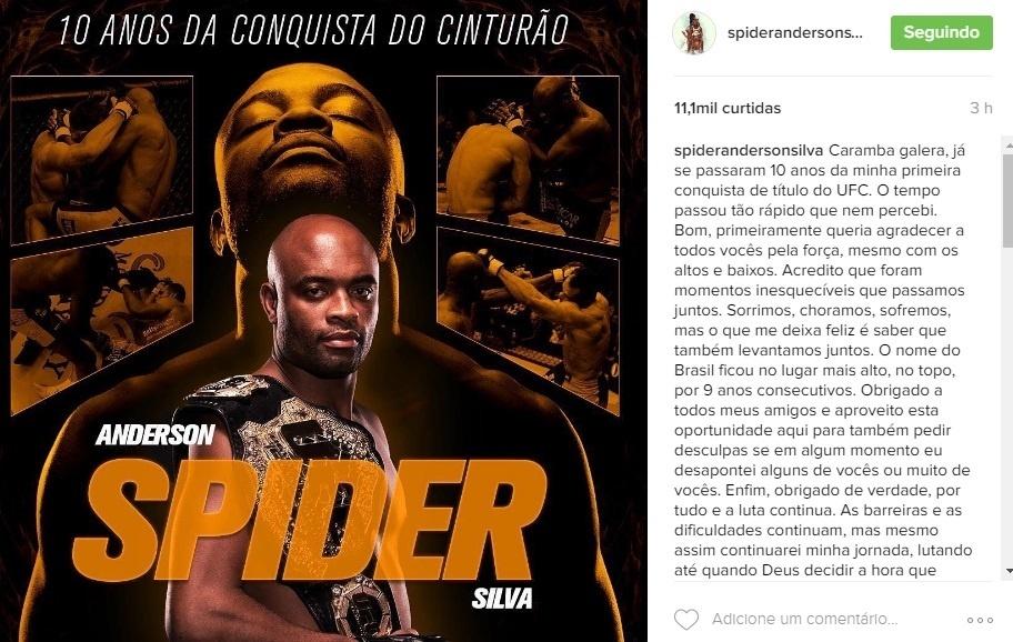 Anderson Silva fala do UFC em seu Instagram