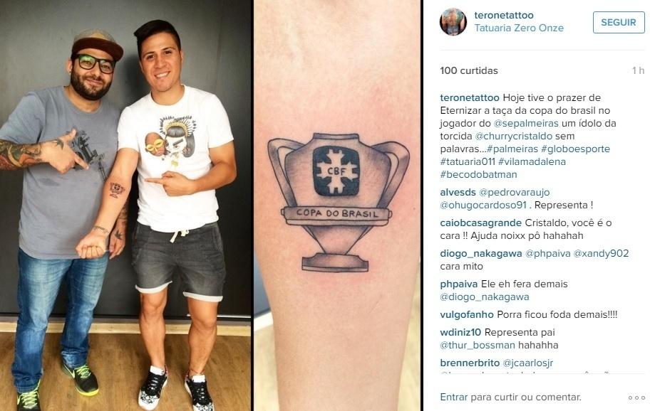 Cristaldo mostra tatuagem feita em homenagem ao título da Copa do Brasil