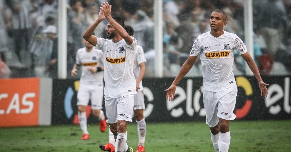 Thiago Maia celebra após abrir o placar para o Santos contra o Palmeiras