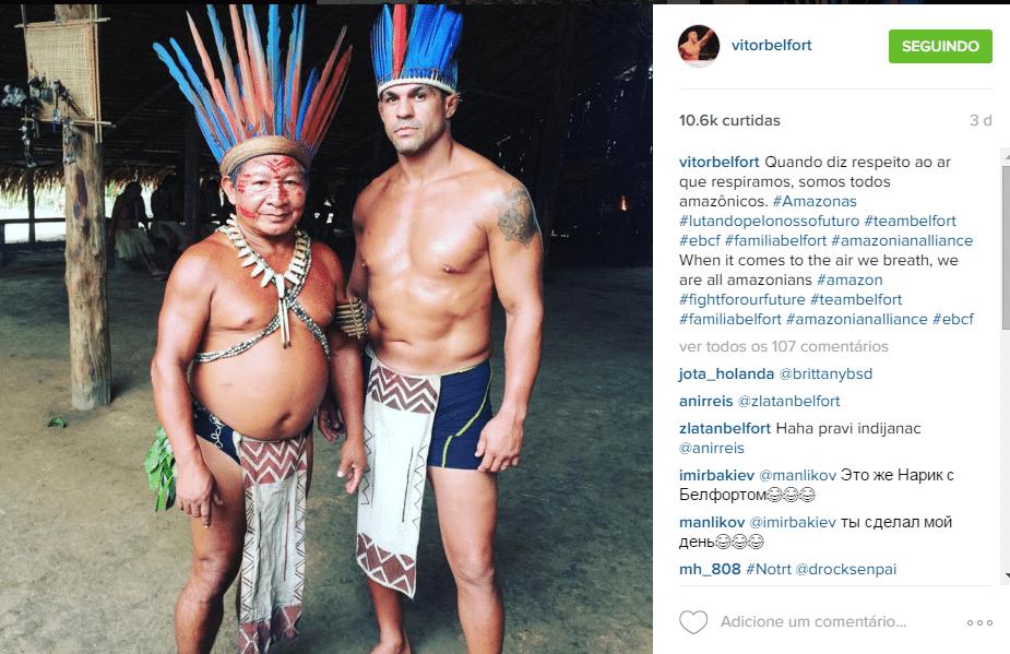 Vitor Belfort se veste de índio em visita a aldeia na Amazônia. Lutador do UFC realiza trabalho contra o desmatamento