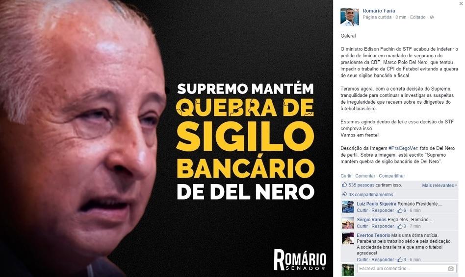 Romário posta decisão do STF em sua página no Facebook