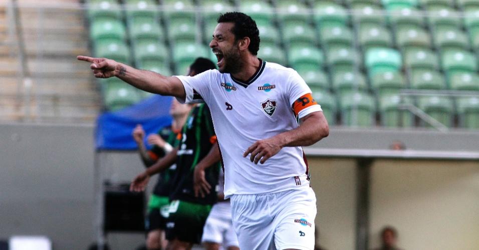 Fred celebra o gol da vitória do Fluminense sobre o América-MG