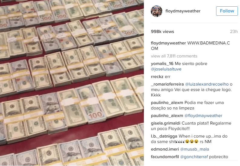 Mayweather esbanja dinheiro nas redes sociais
