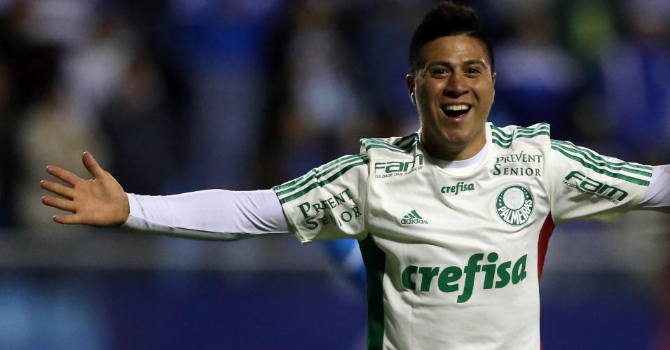 Cristaldo comemora após marcar o segundo gol do Palmeiras contra o Avaí, pelo Campeonato Brasileiro