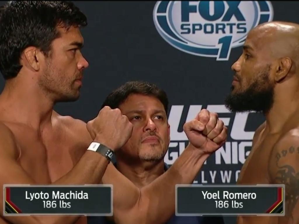 Lyoto Machida e Yoel Romero fazem encarada tranquila na pesagem do UFC Flórida