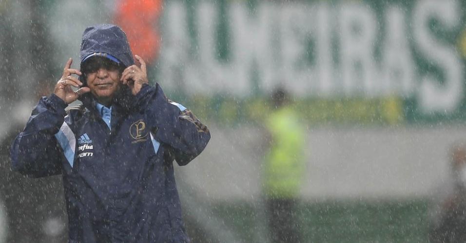 Marcelo Oliveira se protege da chuva durante o clássico Palmeiras e Santos