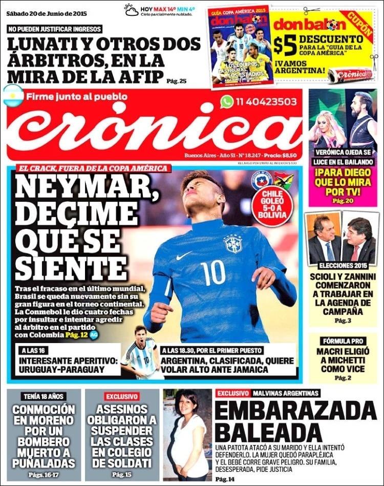Jornal argentino Crónica faz piada com a suspensão de Neymar: 'diga-me como se sente'