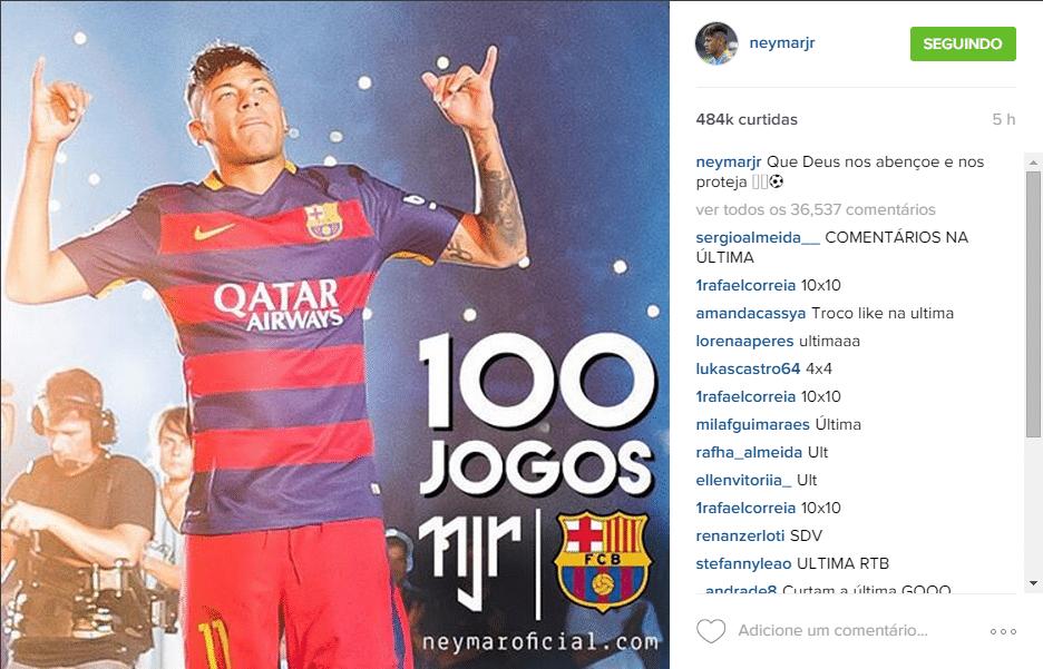 Neymar comemora 100 jogos pelo Barcelona no Instagram