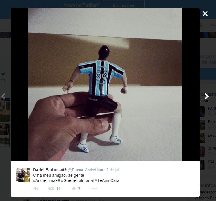 Além de fotos e tatuagens, Darlei também tem a miniatura de André