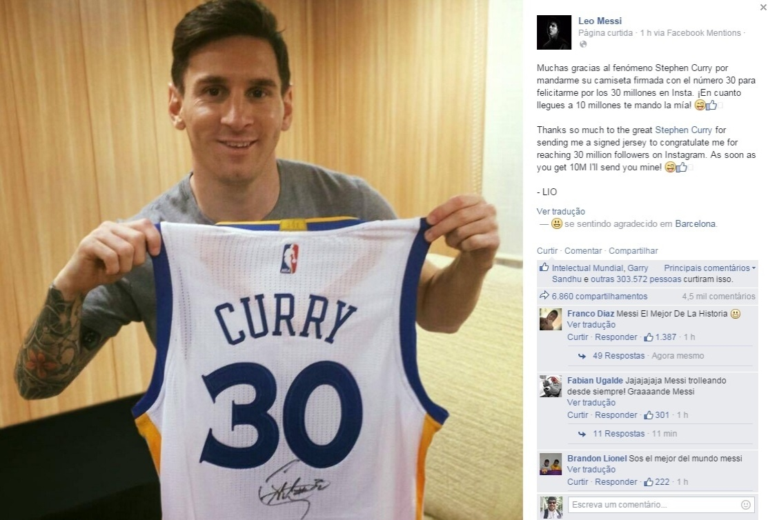 Lionel Messi ganha camisa de Stephen Curry