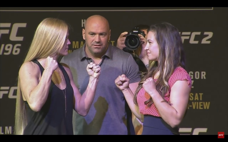 Holly Holm e Miesha Tate fazem encarada amistosa em coletiva de imprensa do UFC