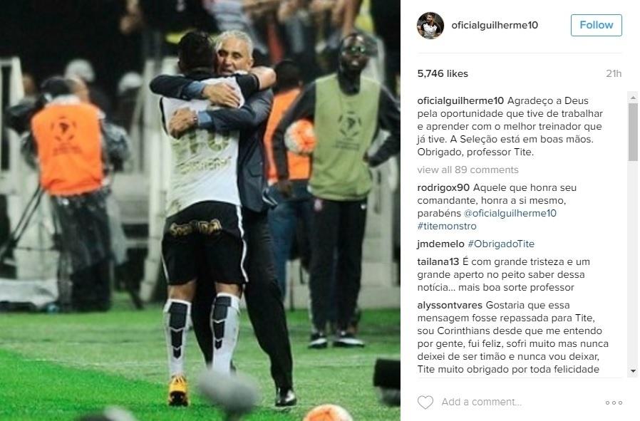 Guilherme faz homenagem a Tite no Instagram