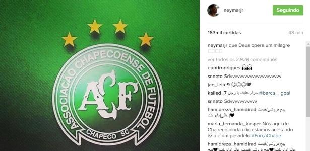 Atletas e clubes de todo o mundo lamentam acidente com avião da Chapecoense - Reprodução/Instagram