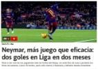 Poucos gols em 2016. E Neymar vira alvo de questionamentos na Espanha