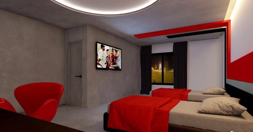 Detalhe dos quartos que serão utilizados pelos jogadores no novo Ninho do Urubu