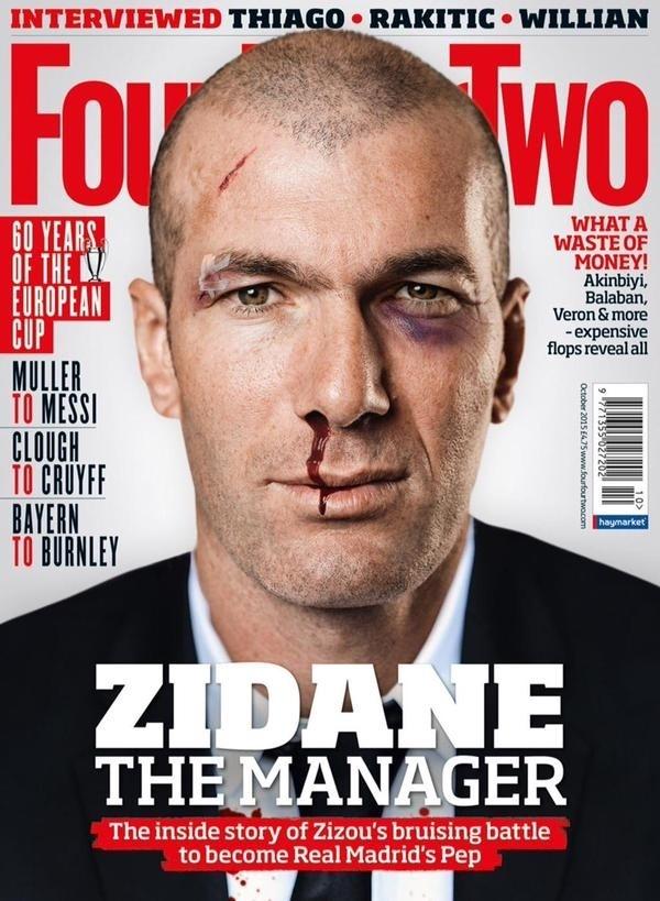 Zinedine Zidane na capa da revista Four Four Two de outubro de 2015