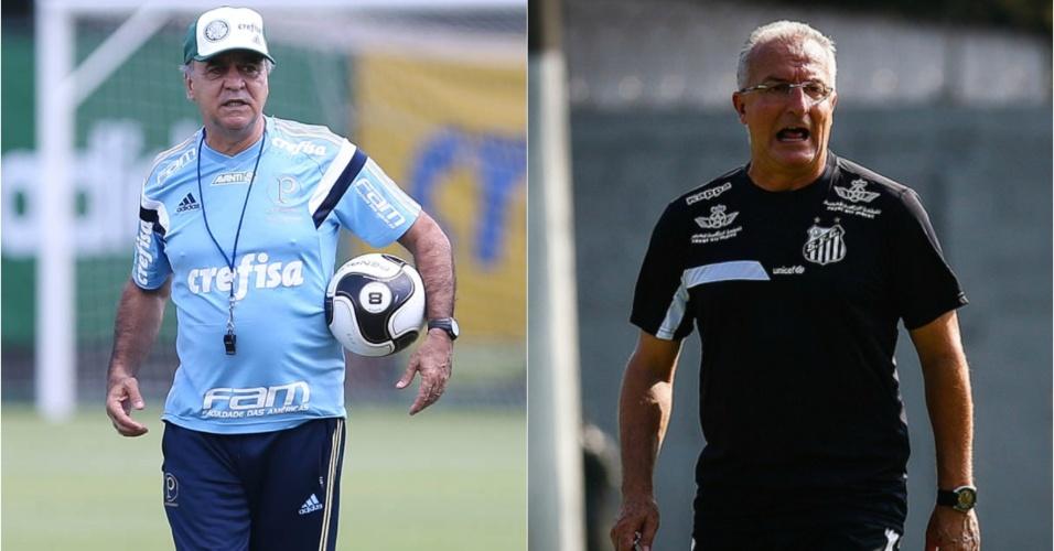 Marcelo Oliveira e Dorival Junior em ação por Palmeiras e Santos, respectivamente