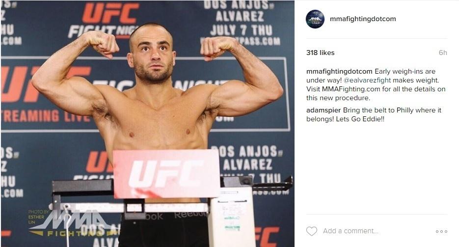 Eddie Alvarez, durante a pesagem oficial do UFC: Dos Anjos x Alvarez