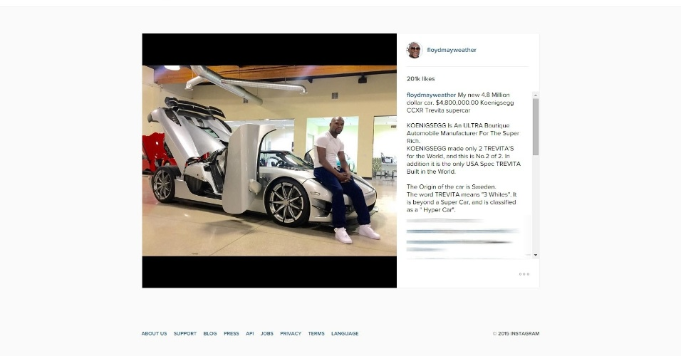 Floyd Mayweather exibe novo carro, um Koenigsegg CCXR Trevita