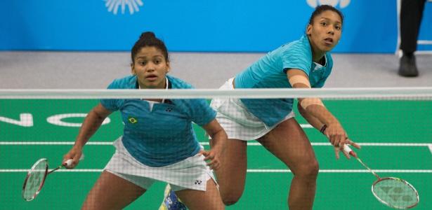 Irmãs Luana e Lohaynny Vicente disputam a final de duplas feminina do badminton. Brasileiras ficaram com a medalha de prata