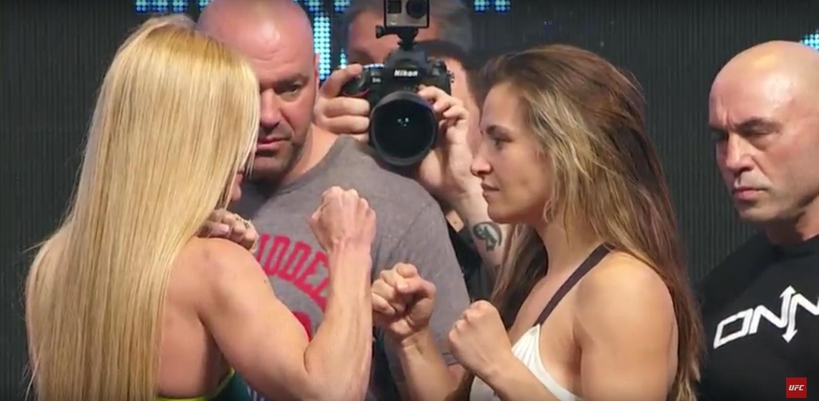 Holly Holm e Miesha Tate fazem encarada durante a pesagem oficial do UFC 196