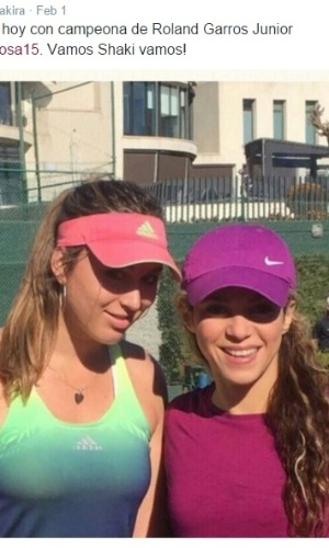 Shakira publica foto após treinar com a tenista Paula Badosa