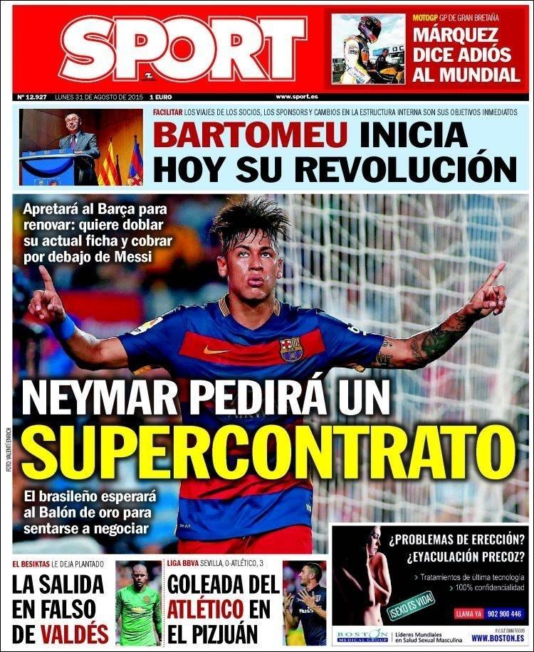 Capa do Jornal Sport exibe manchete a respeito de negociação de Neymar com Barcelona por aumento de salários