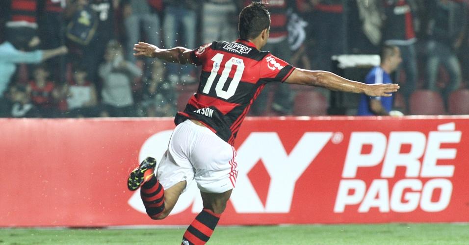 Ederson comemora gol do Flamengo contra o Internacional