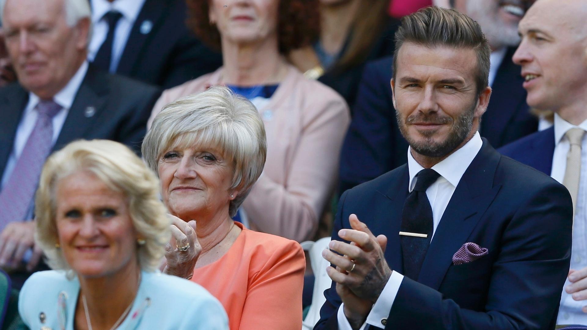 David Beckham acompanhando as semifinais femininas de Wimbledon