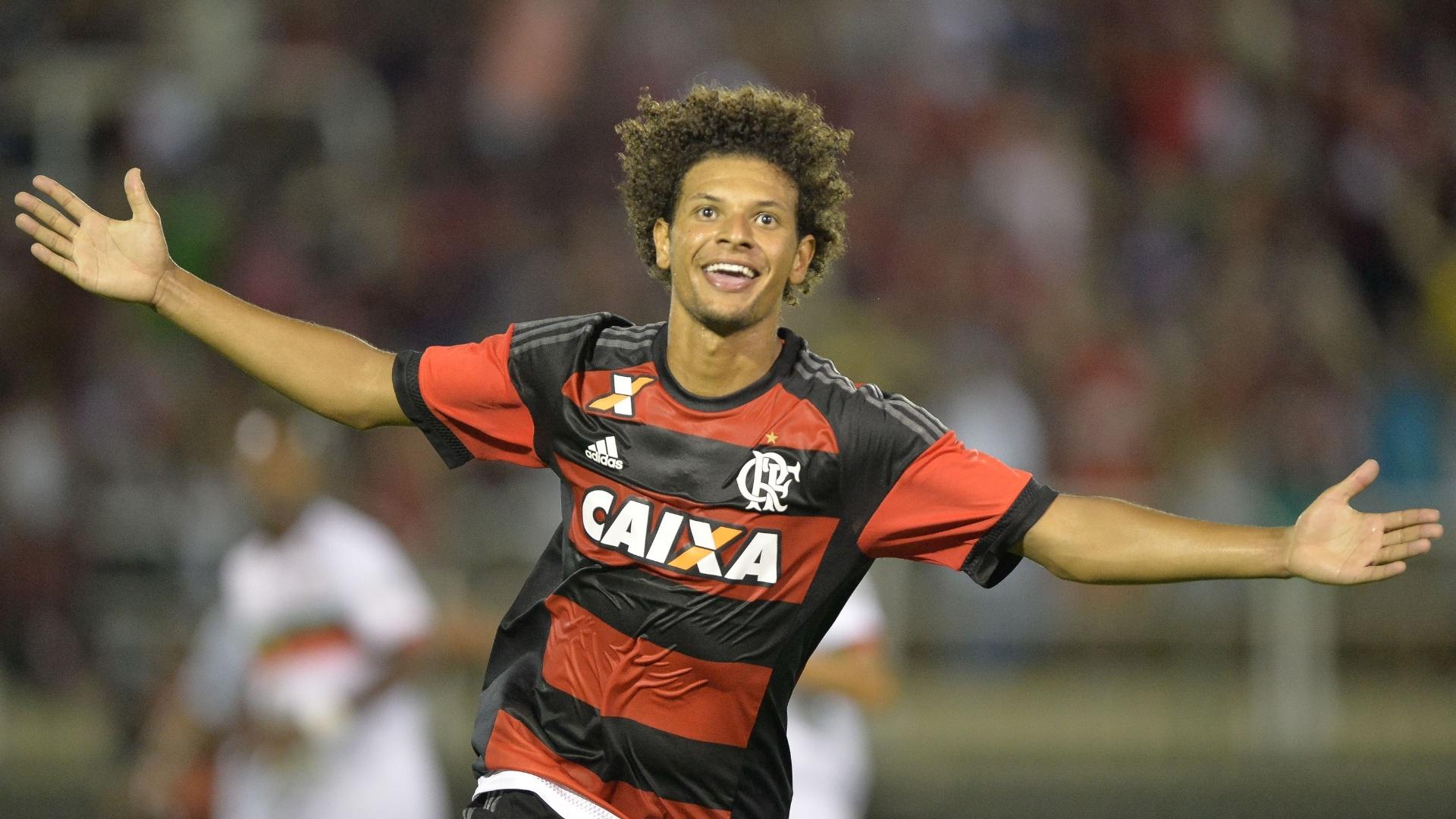 Willian Arão comemora gol marcado pelo Flamengo contra a Portuguesa-RJ