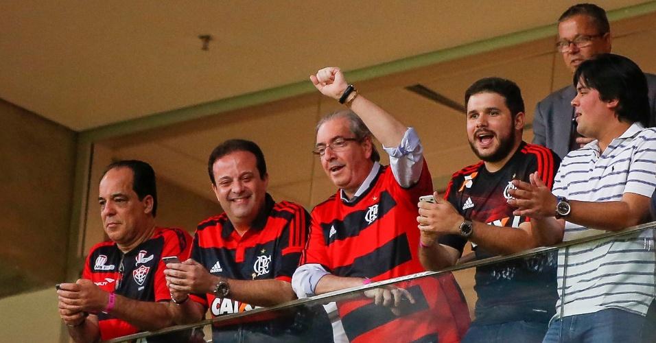 Eduardo Cunha acompanha jogo do Flamengo em um camarote do estádio Mané Garrincha